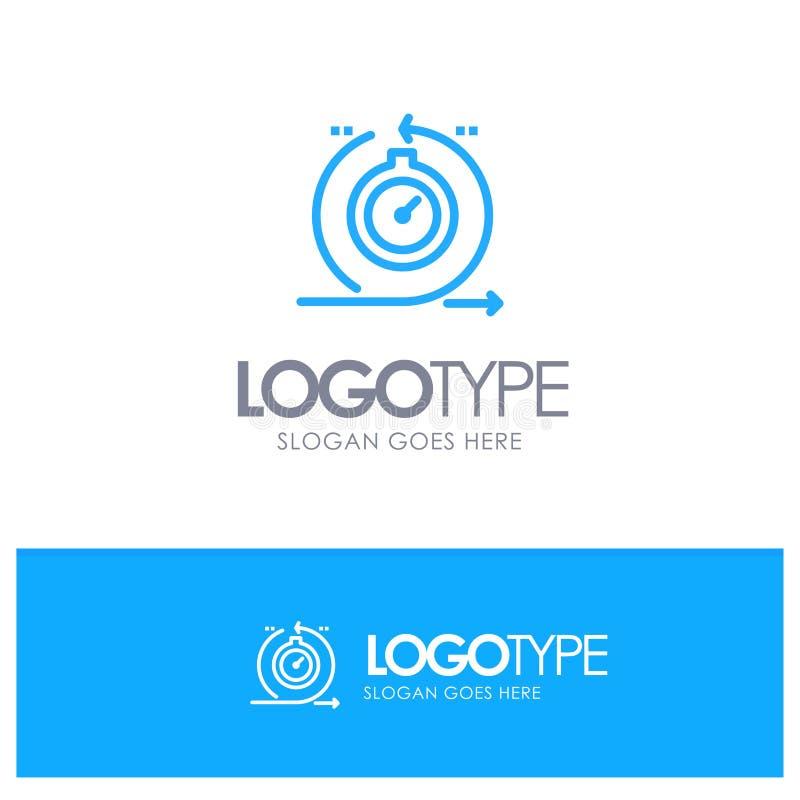 Behendig, Cyclus, Ontwikkeling, Snel, Embleem van het Herhalings het Blauwe overzicht met plaats voor tagline stock illustratie