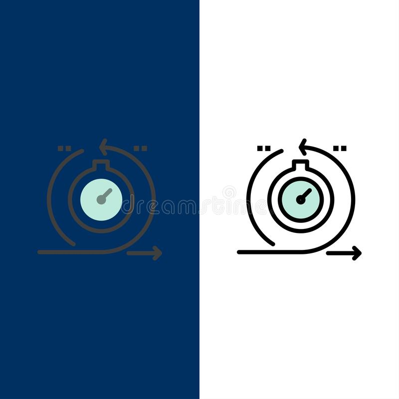 Behendig, Cyclus, Ontwikkeling, Snel, Herhalingspictogrammen Vlak en Lijn vulde Pictogram Vastgestelde Vector Blauwe Achtergrond vector illustratie