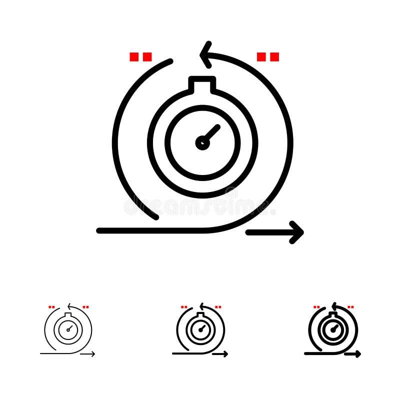 Behendig, Cyclus, Ontwikkeling, Snelle, het pictogramreeks van de Herhalings Gewaagde en dunne zwarte lijn royalty-vrije illustratie
