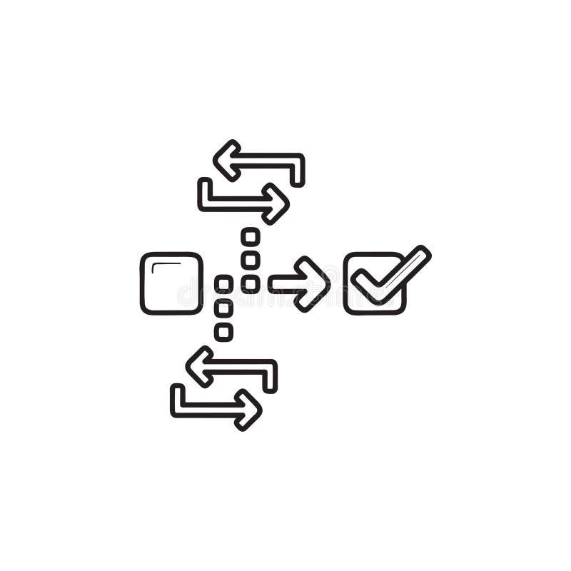 Behendig de krabbelpictogram van het projectleidingshand getrokken overzicht royalty-vrije illustratie