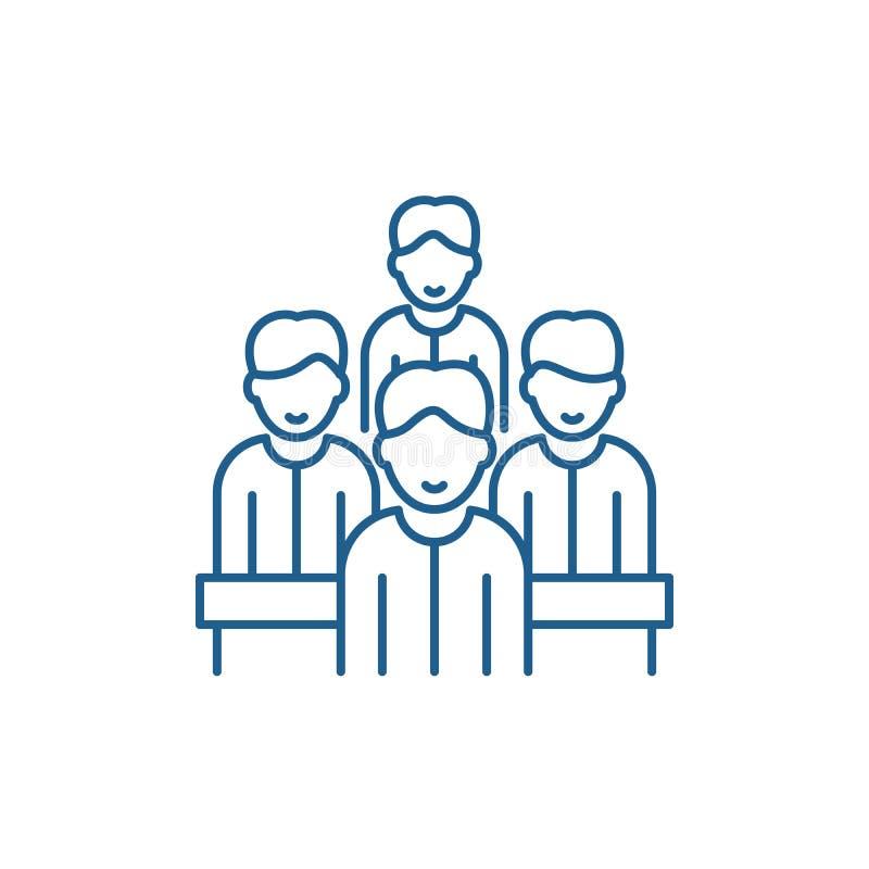 Behendig het pictogramconcept van de teamlijn Behendig team vlak vectorsymbool, teken, overzichtsillustratie royalty-vrije illustratie
