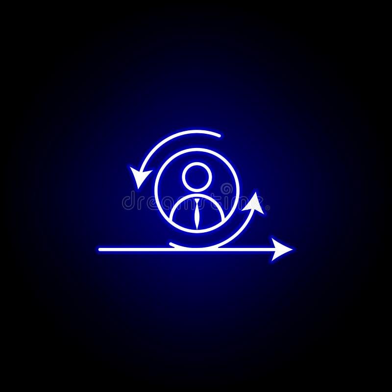 Behendig, manager, arbeiderspictogram Elementen van Personeelsillustratie in het pictogram van de neonstijl De tekens en de symbo vector illustratie