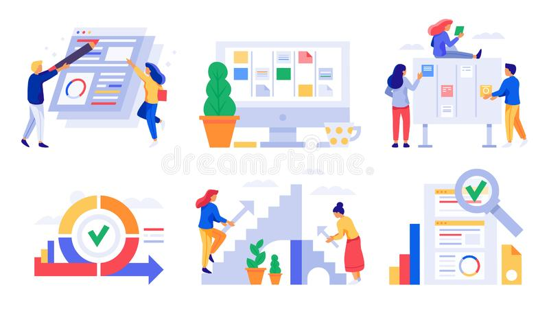 Behendige ontwikkeling De sprints van de scrumraad, de kanban taken van het beheersteam en de bedrijfsbehendigheid werken strateg stock illustratie