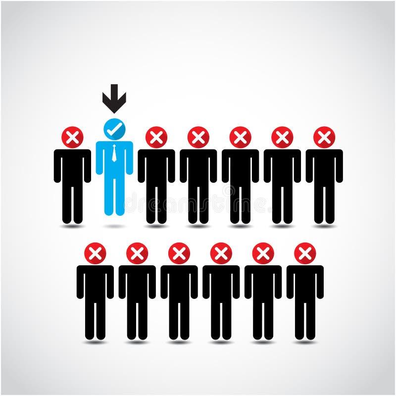 Beherrschen Sie das Wählen des perfekten Geschäftsmannes für den Job stock abbildung