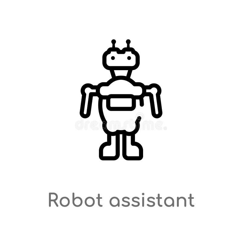 behilfliche Vektorikone des Entwurfsroboters lokalisiertes schwarzes einfaches Linienelementillustration von k?nstlichem intelleg stock abbildung
