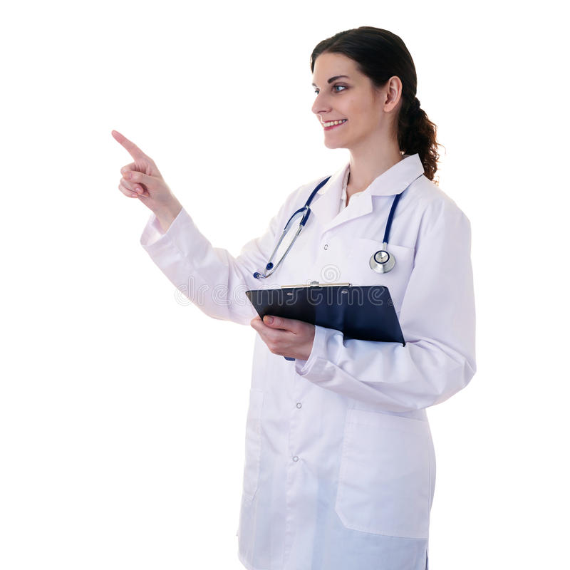 Behilflicher Wissenschaftler der Ärztin im weißen Mantel über lokalisiertem Hintergrund lizenzfreies stockbild