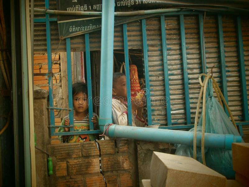 children of cambodia stock images
