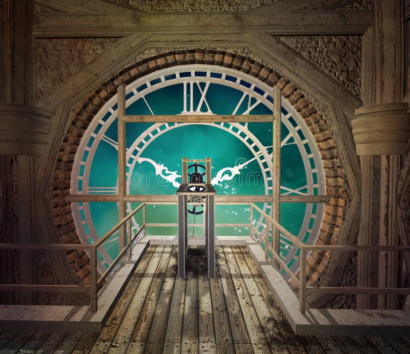 Behind a big steampunk clock stock illustration