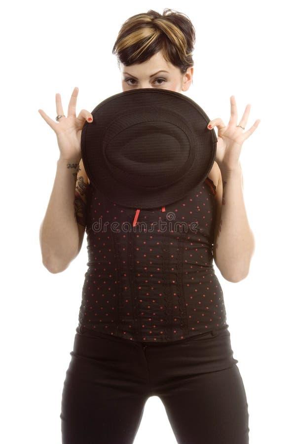 behind black hat hiding στοκ εικόνα με δικαίωμα ελεύθερης χρήσης