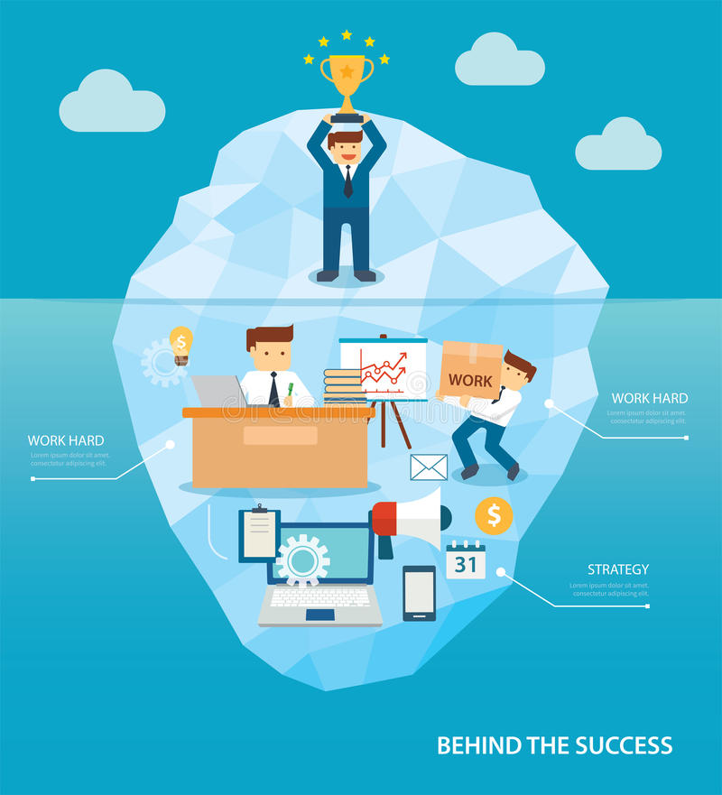Behind business success flat design stock illustration
