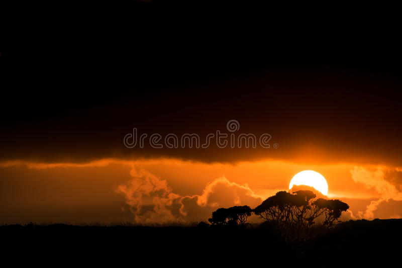 Behind the courtain. An unexpectedly beautiful ending to a very rainy day royalty free stock image