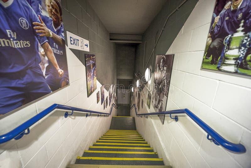 Behind the curtains at Stamford Bridge stadium royalty free stock image