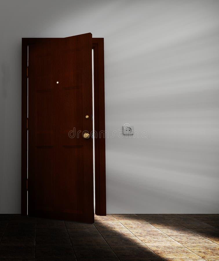 Behind the door vector illustration