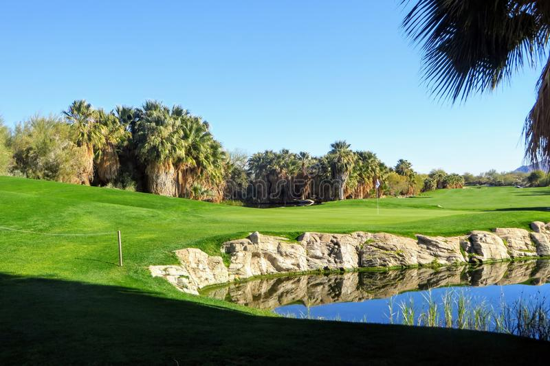 A behind the green view of a beautiful golf hole and green surrounded by palm trees and a pond in Palm Springs, California stock image
