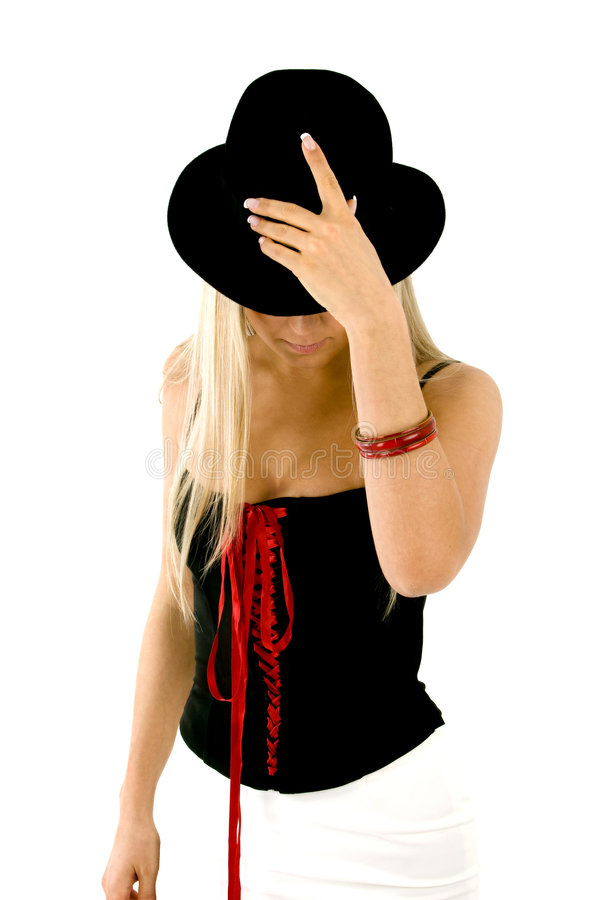 Download Behind the hat stock photo. Image of beautiful, blond - 1806390