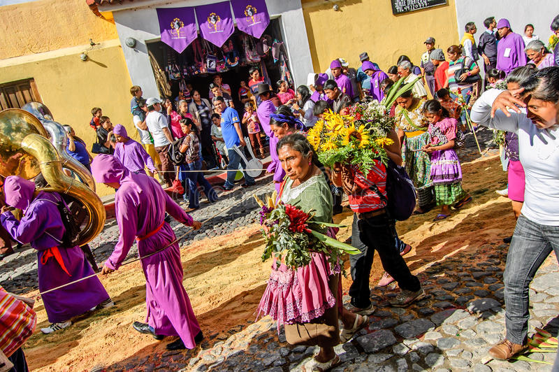 Behind Lent procession, Antigua, Guatemala stock photos