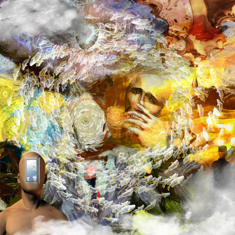 Behind the Mask. Surreal painting. Man without face with mask in his hand. Naked man`s torso with opened door instead of his face. Melted clock in Dali style and vector illustration