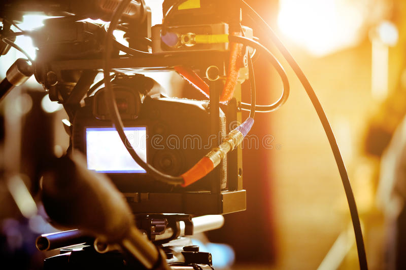 Behind the scenes background. Detail of Video camera viewfinder,film production crew,behind the scenes background stock photo