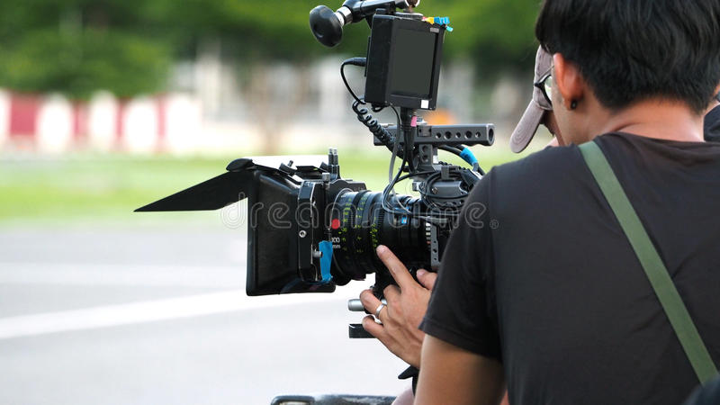 Behind the scenes of movie shooting or video production. stock photography