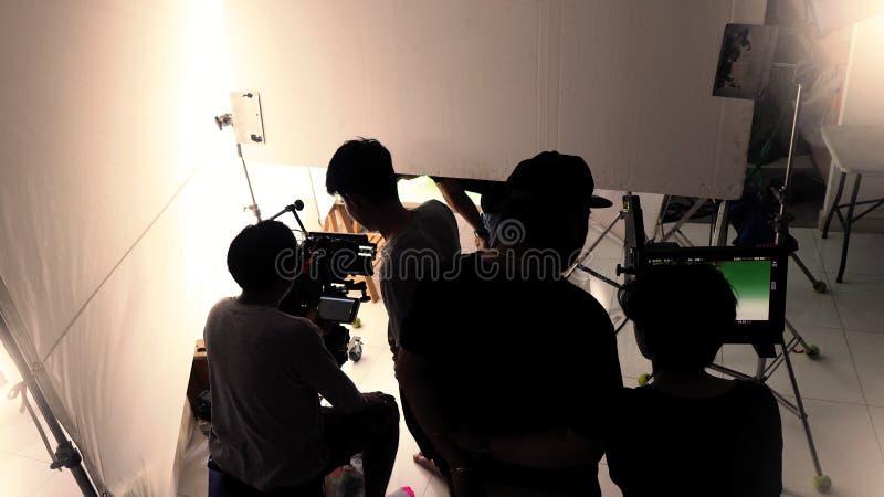 Behind the scenes of shooting video in studio. stock images