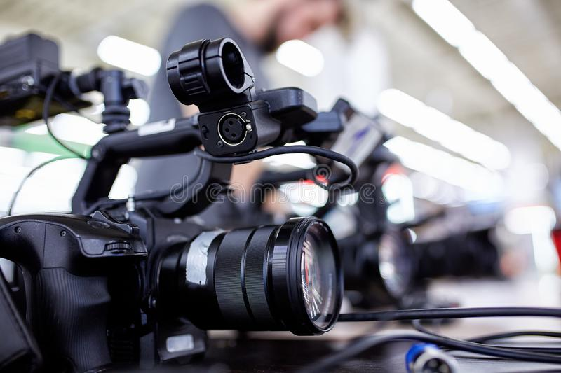 Behind the scenes of video production or video shooting. The concept of production of video content for TV, blog, shows royalty free stock photography