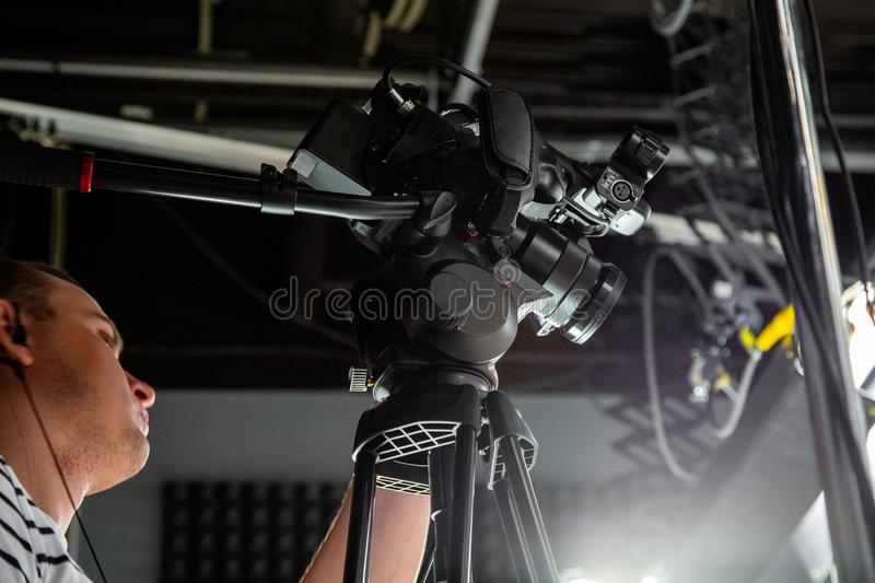 Behind the scenes of video production or video shooting stock photo