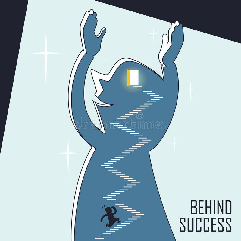 Behind success concept. A businessman keeps running up stairs in line style stock illustration
