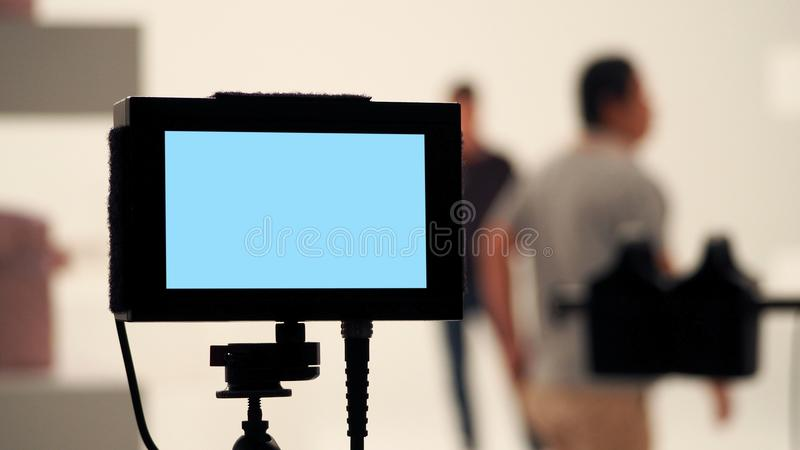 Behind video production digital view screen. royalty free stock photography