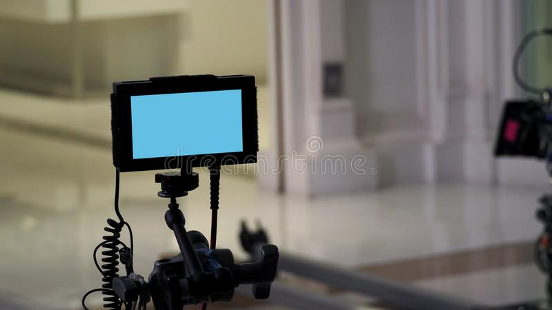 Behind video production digital view screen. royalty free stock images