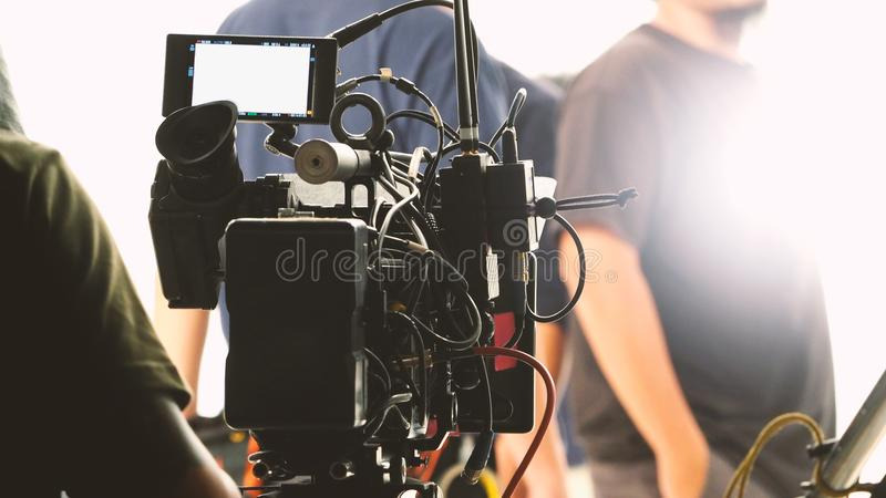 Behind the video shooting production team working stock images