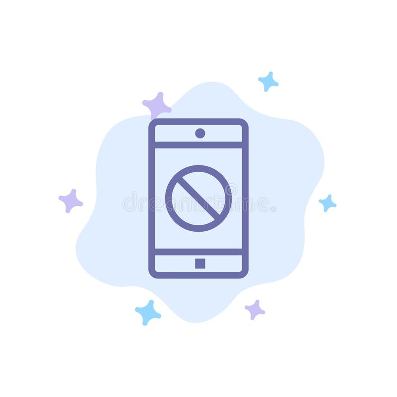 Behinderte Anwendung, behindertes Mobile, bewegliche blaue Ikone auf abstraktem Wolken-Hintergrund stock abbildung