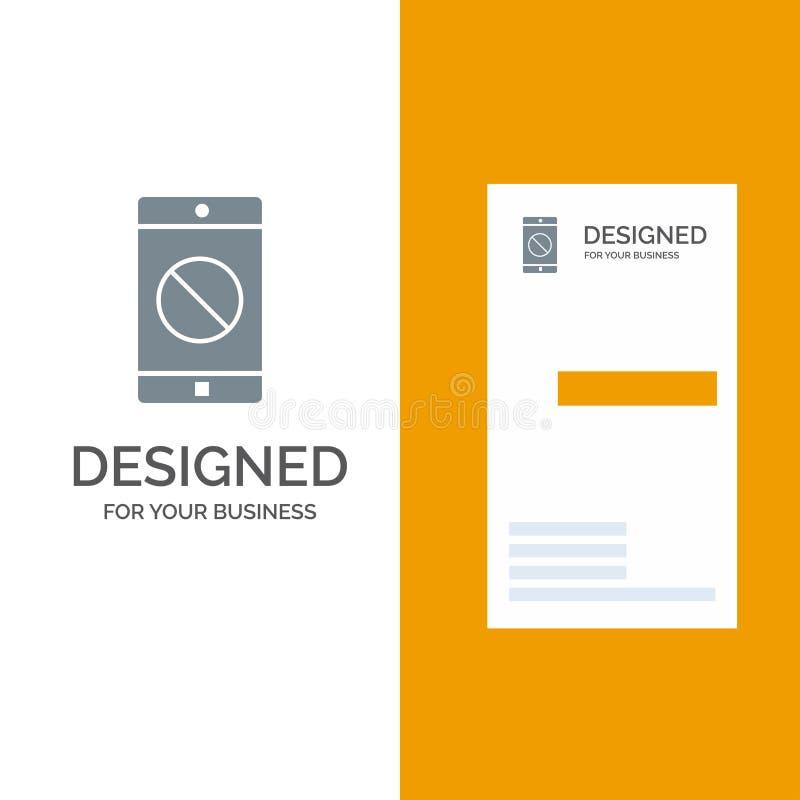 Behinderte Anwendung, behindertes Mobile, beweglicher Grey Logo Design und Visitenkarte-Schablone lizenzfreie abbildung