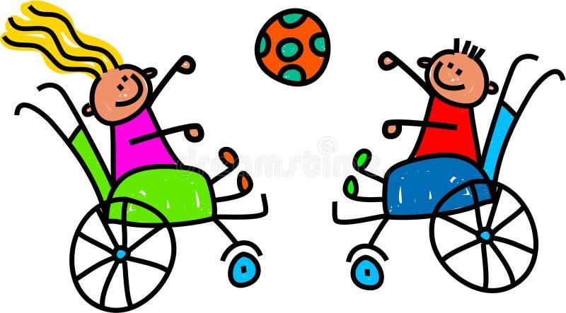 Behinderte Kinder, die Ball spielen lizenzfreie abbildung