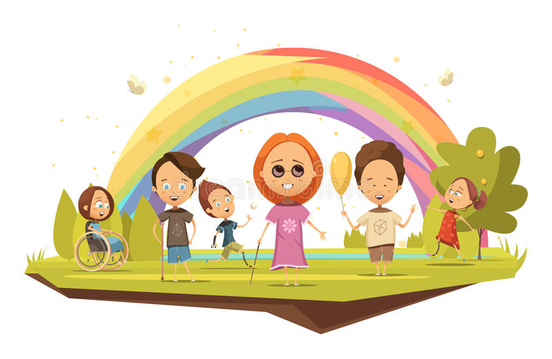 Behinderte Kinderkarikatur-Art-Illustration lizenzfreie abbildung