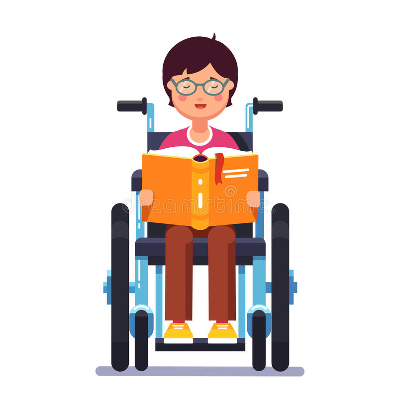 Behinderter Junge, der in einem Rollstuhl und in einem Ablesen sitzt stock abbildung