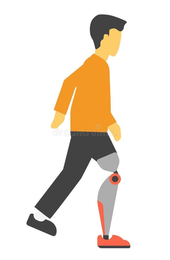 Behinderter Mann mit der Vektorillustration des künstlichen Beines lokalisiert auf Weiß lizenzfreie abbildung