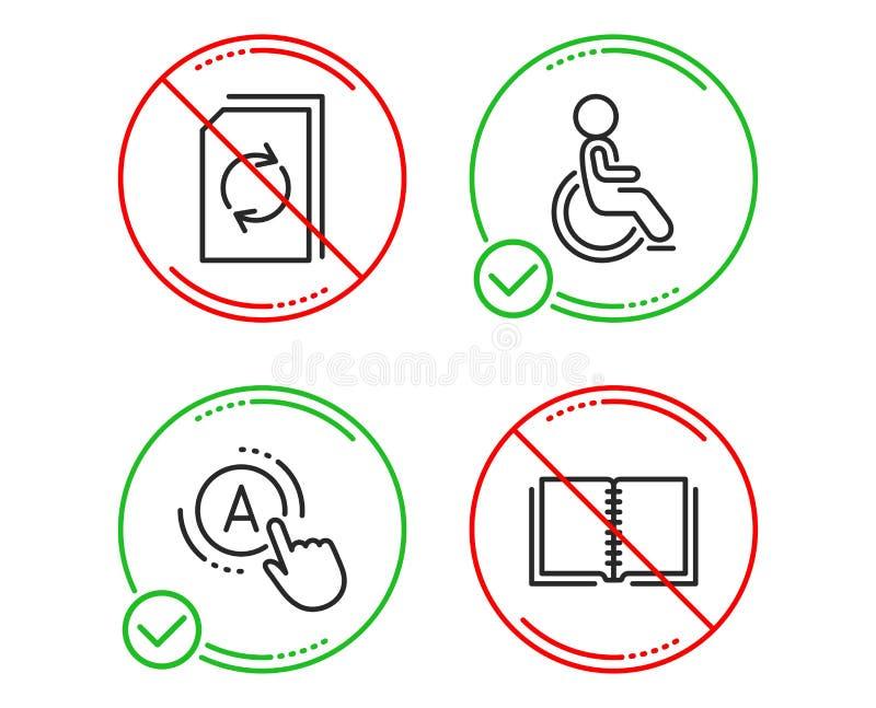 Behindertes, Aktualisierungsdokument und AB-Pr?fungsikonensatz Buchzeichen Behinderter Rollstuhl, erneuern Datei, einen Test Vekt stock abbildung