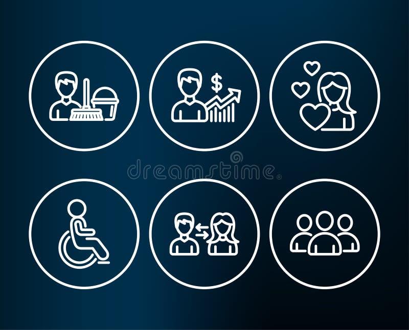 Behindertes, Geschäftswachstum und Reinigung halten Ikonen instand Leutekommunikation, Liebes- und Gruppenzeichen lizenzfreie abbildung