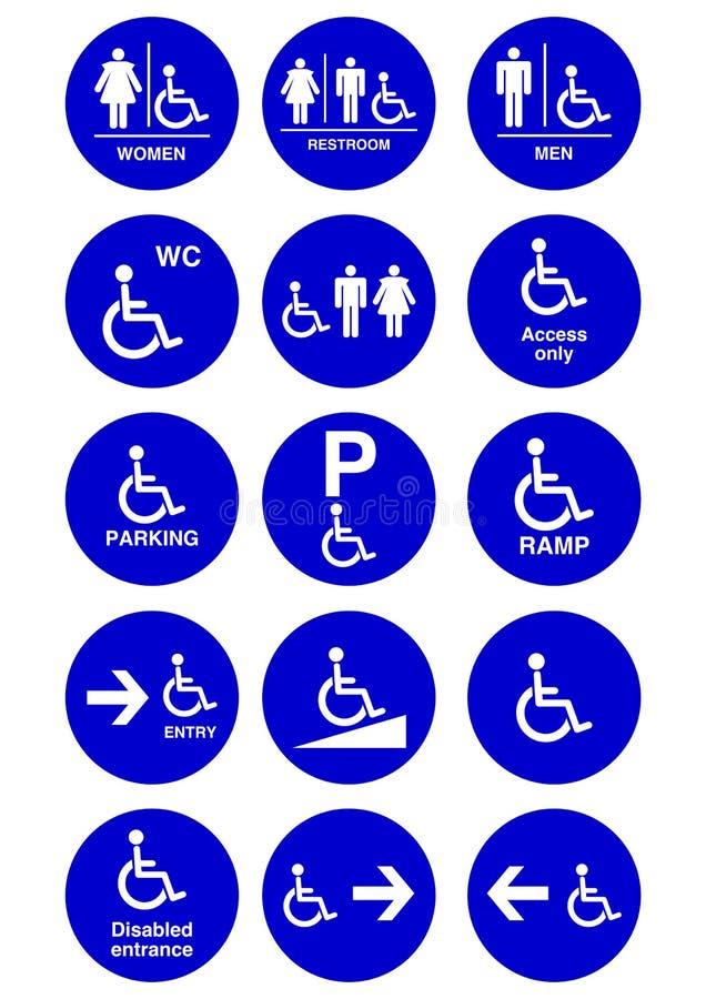 Behindertes, Mann- und Frauensymbol lizenzfreie abbildung