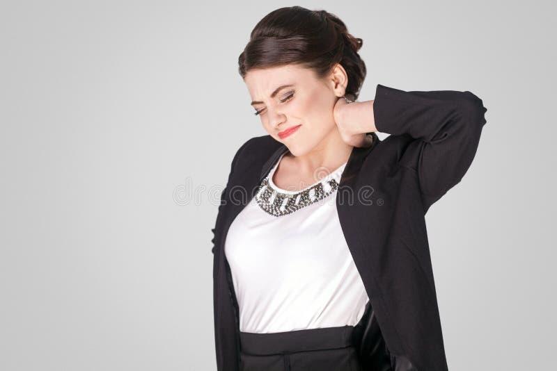 Behoeftemassage na het harde werkdag De werkgever heeft probleem in stekel royalty-vrije stock foto's