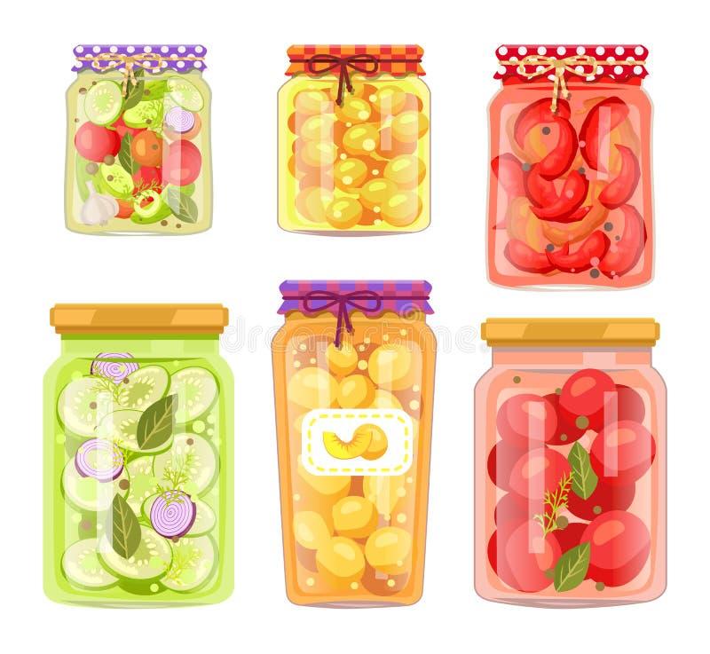 Behoudt het oma Eigengemaakte Fruit en legde Veggie in stock illustratie