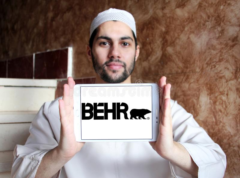 Behr paint company logo. Logo of Behr paint company on samsung tablet holded by arab muslim man. Behr Process Corporation is a supplier of architectural paint royalty free stock images