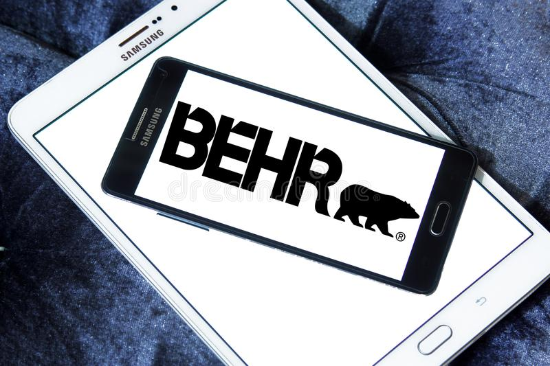 Behr paint company logo. Logo of Behr paint company on samsung mobile. Behr Process Corporation is a supplier of architectural paint and exterior wood care stock photo