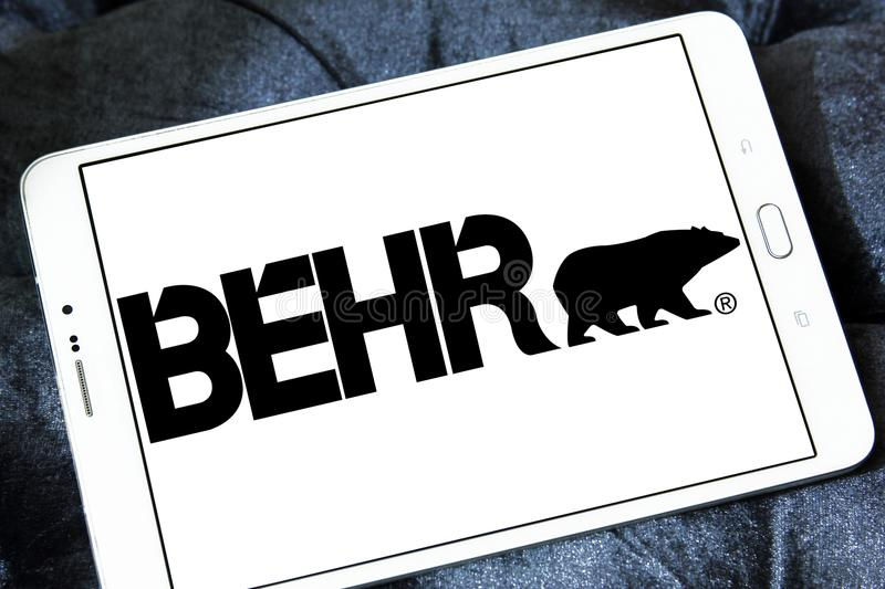 Behr paint company logo. Logo of Behr paint company on samsung tablet . Behr Process Corporation is a supplier of architectural paint and exterior wood care royalty free stock photography