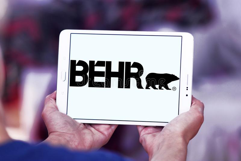Behr paint company logo. Logo of Behr paint company on samsung tablet . Behr Process Corporation is a supplier of architectural paint and exterior wood care stock photography