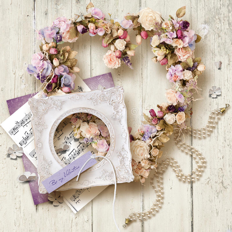 Bei accessori e regalo per il giorno del ` del biglietto di S. Valentino o di nozze s fotografia stock libera da diritti