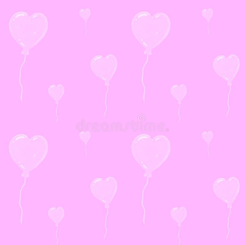 Bei aerostati nella forma di cuori, modello senza cuciture dell'acquerello su fondo rosa Può essere usato per la cartolina d'augu illustrazione vettoriale