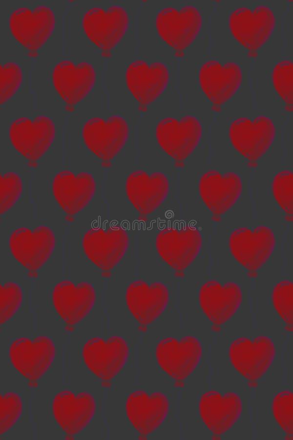 Bei aerostati nella forma di cuori, modello senza cuciture dell'acquerello su fondo scuro Può essere usato per la cartolina d'aug illustrazione vettoriale