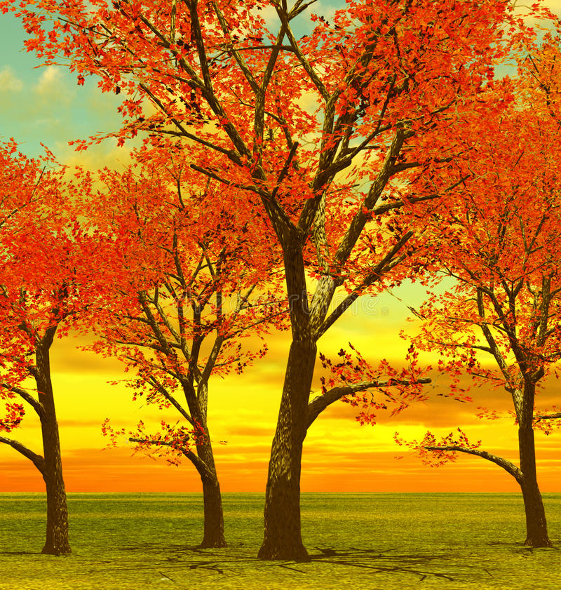 Bei alberi di autunno illustrazione vettoriale