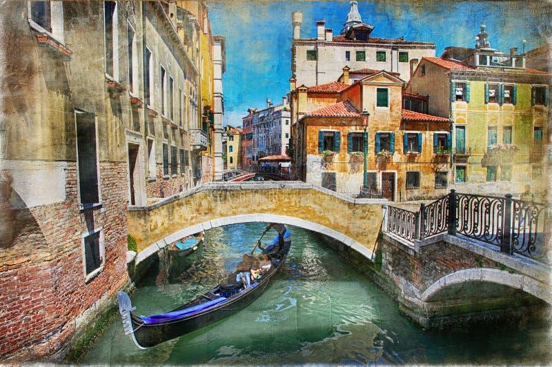 Bei canali romantici del materiale illustrativo di Venezia nello stile della pittura fotografia stock